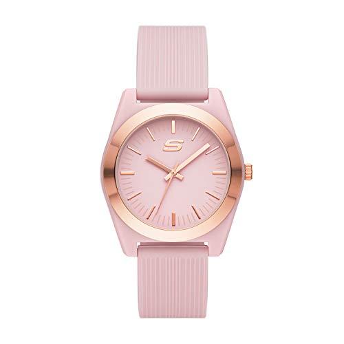 Skechers Women's Polycarbonate Quartz Watch with Silicone Strap, Pink, 20 (Model: SR6200)