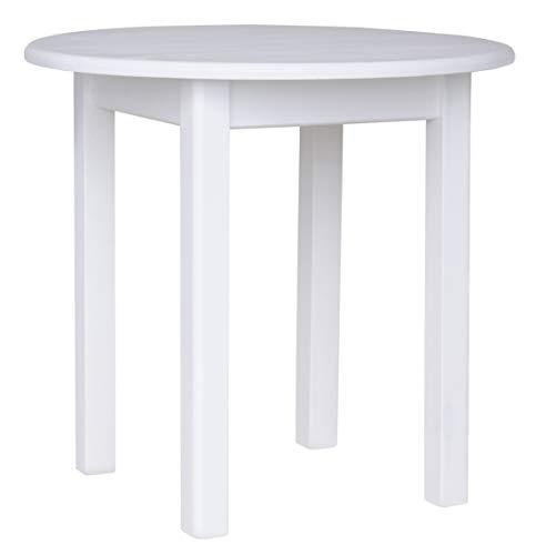 koma Mesa de comedor redonda de madera maciza de pino (90 cm), color blanco