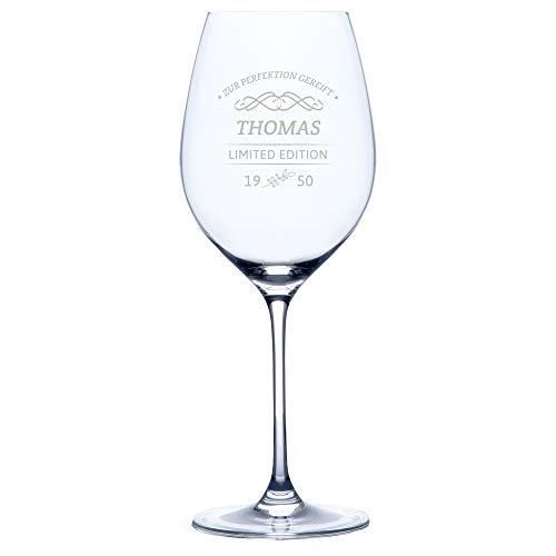 Personello® Rotweinglas mit Gravur (Motiv Limited Edition), Weinglas mit Name, Datum und Sprüche graviert (personalisiert), Geburtstagsgeschenk, Geschenkidee für Weintrinker (Rotwein)