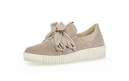 Gabor Damen Sneaker, Frauen Low-Top Sneaker,Best Fitting,Übergrößen,Optifit- Wechselfußbett, strassenschuh schnürer,Silk/Muschel,39 EU / 6 UK