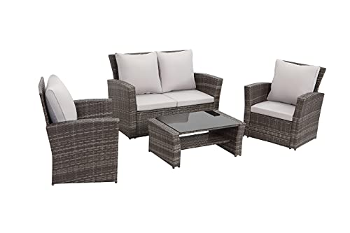 Kamco Direct Mixed Grey Rattan Garden Furniture Sofa Set Sofa 4 Seater Wicker Patio Weave Conservatory Luxury Sun Room