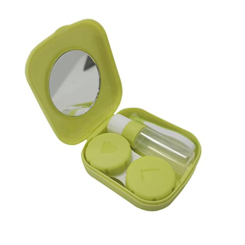 JANEMO Contact Lens Case,Mini Portable Contact Lens Box Holder Container,Used for Travel,Home,Teen Girls,Women Travel Carry,Green