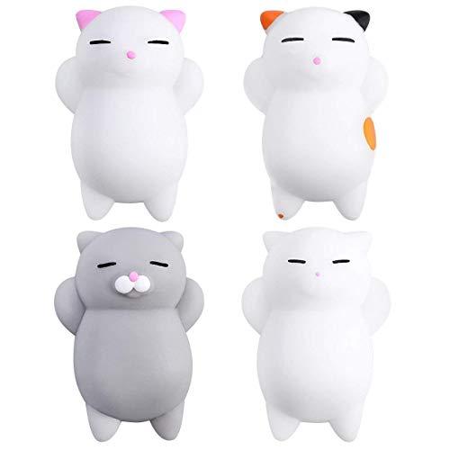 Blesser Mochi Squishy Chat, Mini Squishy Kawaii, Jouet Anti Stress Squishy Pas Cher 4 PSC