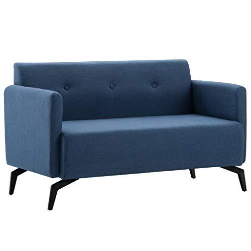 Tidyard Sofá de 2 Plazas,Sofá de Salón con Estructura de Madera,Tapicería de Tela,115x60x67cm Azul