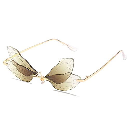 Xuefang Gafas de sol sin montura de mariposa para mujer, diseño vintage de libélula sin marco de metal vintage