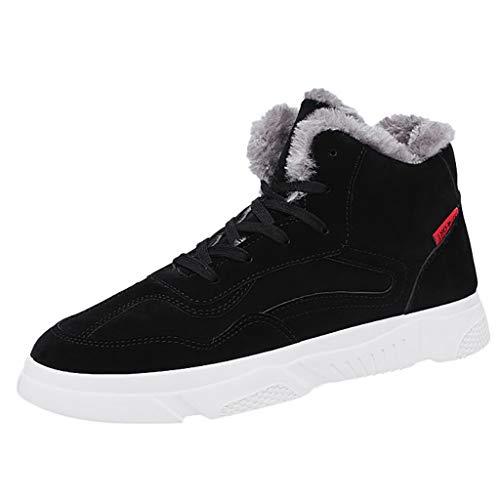 Zapatos de hombre JiaMeng-ZI Pelusa Mantener Caliente Zapatos Deportivos Suela Gruesa Resistente al Desgaste Casual Shoes Planos Antideslizante Zapatillas de Trekking Botas Invierno