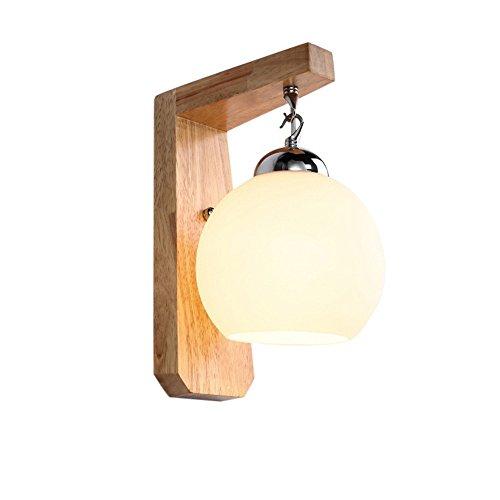 SiwuxieLamp applique murale Connectez-vous en bois massif chambre lampe de chevet allée escalier nordique américain moderne minimaliste avec 6016 lumière support