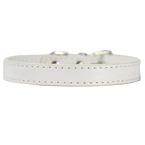 QWERTYU Leder Solid Soft Colourful Pet Hundehalsband für kleine mittelgroße HundeHalsbandVerstellbare sichere WelpenKatzenhalsband, weiß, XS
