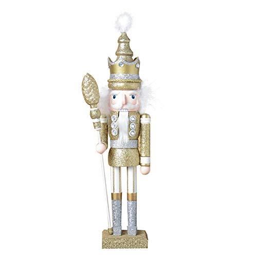 gerFogoo Nussknacker-Handpuppe aus Holz, bedruckt, Walnussholz-Puppe, Weihnachtsbaum-Dekoration, Nussknacker, Weihnachtsmann-Figur für Zuhause, festliche Feiertagsdekoration (Gold)