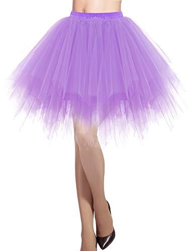 DRESSTELLS Damen Tüllrock 50er Rockabilly Petticoat Tutu Unterrock Kurz Ballett Tanzkleid Ballkleid Abendkleid Gelegenheit Zubehör Lavender L