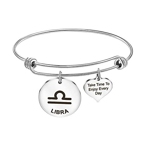Ousyaah Sternbild Armband für Frauen, Anhänger Armband, Mädchen Silber Armband, Einstellbare Größe, Weihnachten Geburtstag Schmuck Geschenk (Libra)
