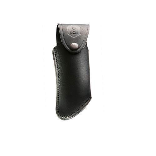 LAGUIOLE étui cuir vachette noir pour couteau - forme courbée. Muni d'un attache-ceinture