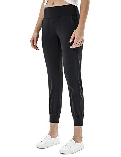 YAWHO Damen Leggings Yogahosen Sporthose Jogginghose Fitnesshose Laufhose Lang Tights High Waist mit Taschen Dehnbar Yoga Sport Fitness Laufen (Black (9027), M)