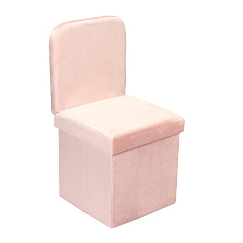 B FSOBEIIALEO Velvet Storage Ottoman with Seat Back, Folding Storage Chair for Living Room, Space-Saving Room Organizer Cubes, Toy Chest Storage Cubes Box (Pink, Medium)