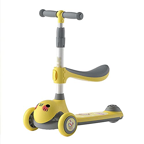 Freestyle Scooter,Patinete infantil, Patinete infantil, Patinete infantil, ruedas LED, altura ajustable, freno seguro y sensible para niños, niños y niñas, 3 – 8 años de edad (color amarillo)