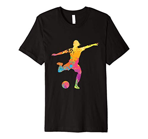 Multicolored Soccer Goal Kick TShirt Footbal Player Gift