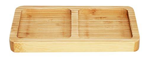 rukauf. Bambus Snack-Schale Servier-Schale Schüssel für Snacks, Nüsse, Kerne, Dipps 2er Fach