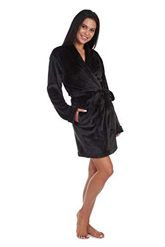 Cherokee Women's Luxury Plush Robe Mid-Length Bathrobe with Pockets, Black, Small