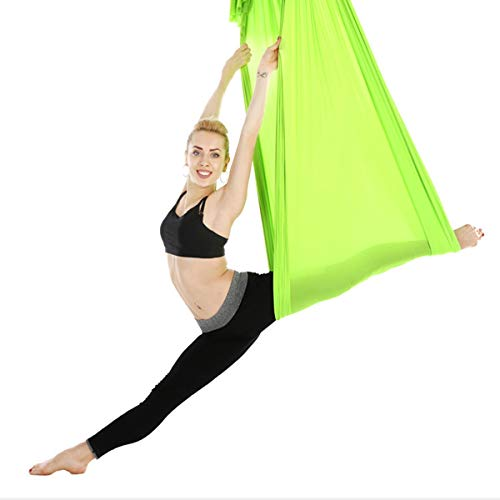 VDSOIUTYHFV Hamaca de Yoga Hamaca voladora Columpio Hamaca de Yoga aérea Tela de Seda con mosquetón Cadena de Margaritas para Yoga Pilates