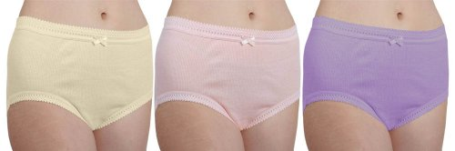 6 Pack Womens/Dames Ondergoed 1x1 Geribbelde Full Size Briefs 100% Katoen Pastel kleuren, WMS Heupen: 38