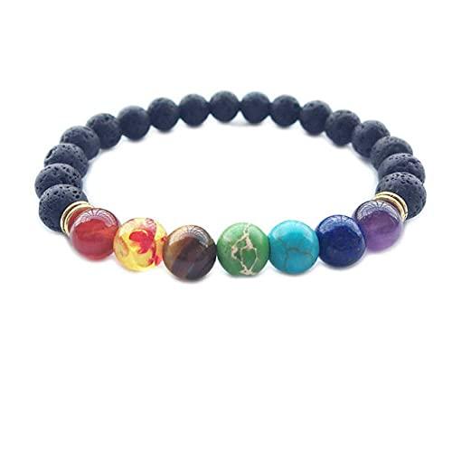LEEYAN Pulsera de Equilibrio de Lava de Lava de Las Perlas de 8 mm para los Hombres Pulsera de Yoga Chakra