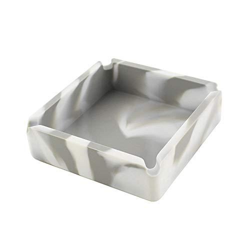 Gaoominy Anti-Fallen Tarnen Aschenbecher Silikon Hoch Temperatur Best?ndige Hitze Best?ndige Design Aschen Becher Grau Wei?