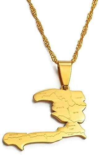 LKLFC Collar Mujer Collar Hombre Collar con Colgante Mapa de Haití con Nombre de Estado Collares Pendientes Mujer Chica Color Plateado/Dorado Joyería Mapa de Haití Collar Collar Niñas Niños Regalo