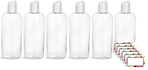 Baire Bottles - 6 Ounces Clear Cosmo Oval Plastic Bottles with White Disc...