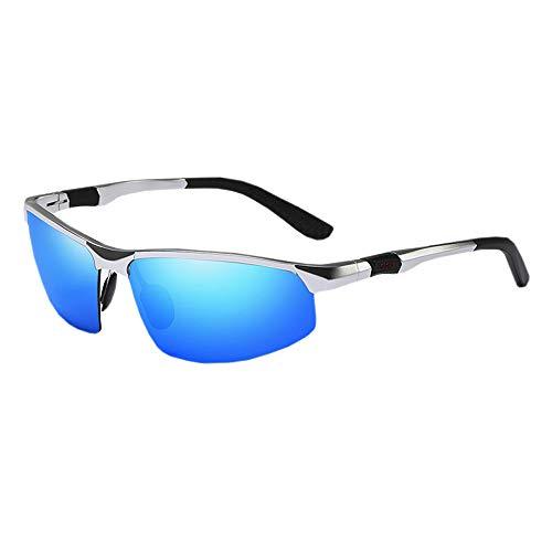 COLOMAX Sonnenbrille Sportbrille Laufbrille Polarisiert UV 400 Schutz Fitness Sport (Silber/Blau)