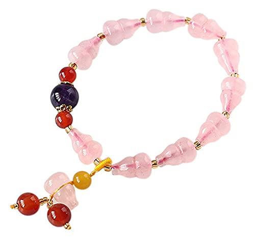 Feng Shui Natural Rose Rosa Pulsera Pulsera Calabaza Colgante Charm Buddha Beads Transporte Pulsera Lucky China Regalos para la curación Atraer dinero para una buena fortuna Valorosa trae prosperidad