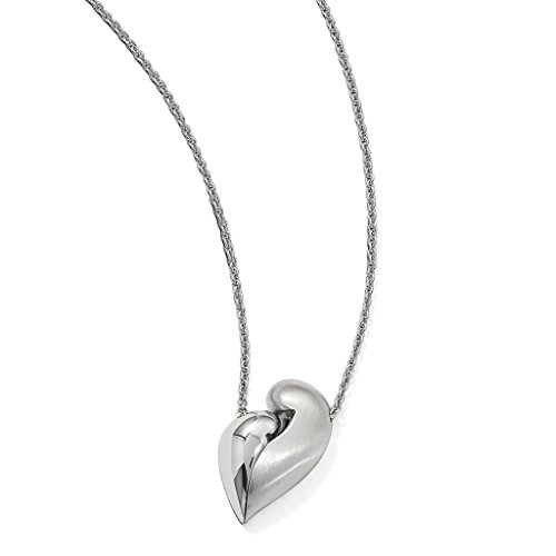 Venture Petra Azar Collection 925 Sterling Silver Rhodium-Plated Polished & Satin Finsih Magnetic Heart Adjustable Necklace