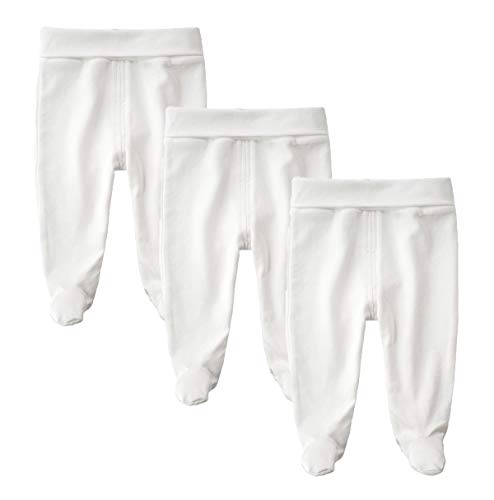 Teach Leanbh Infant Baby Cotton High Waist Footed Pants Casual Leggings 0-12 Months (3-6 Months, White/3)