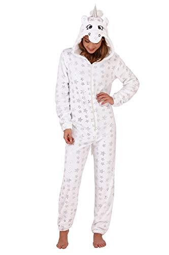Damen-Schlafanzug, Tiermotiv, weiches Fleece, Einteiler Gr. Medium-40-42, Weißes Einhorn mit Folienstern