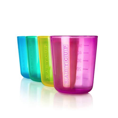 Babycup Primer Vaso - vaso aprendizaje bebe 4m+, Sippy cup abierto graduado y transparente, 100% reciclable y libre de BPA, capacidad de 50ml, set de 4, (multi)