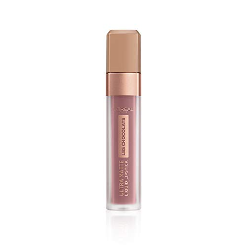 L'Oréal Paris Infaillible Ultra Matte Les Chocolats in Nr. 842 Candy Man, Flüssig-Lippenstift mit Ultra-Matt-Finish und Schokoladen-Duft, 8 ml