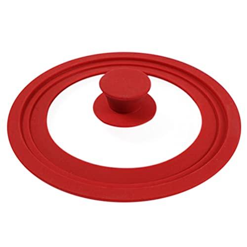 Hemoton - Coperchio in vetro temperato con bordo in silicone resistente al calore e padelle, coperchio di ricambio per padelle in ghisa, 16-18-20 cm, colore: Rosso