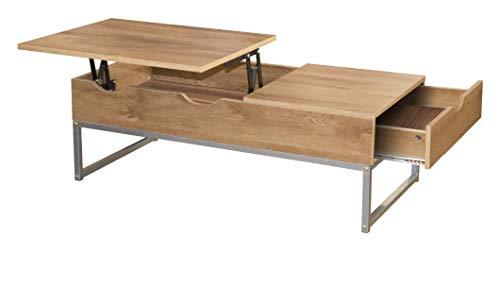 Ease - Tavolino da salotto con cassetto e cassetto, moderno in legno e metallo o soggiorno, 100 x 50 x 35 cm, in legno