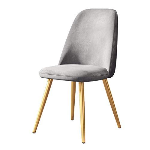 ZSM Nordic Dining Chair Startseite Moderne Einfach Wohnzimmer Schlafzimmer Freizeit Side Chair Make-up Hocker mit ergonomischer Rückenlehne und Metallbeinen YMIK (Color : Gray)