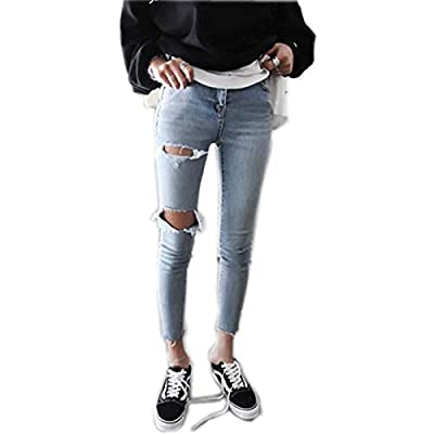 HOSDWomens Jeans Denim Streetwear Skinny High Waist Pencil Pants Zippers Ankle- Length Trousers from HOSD