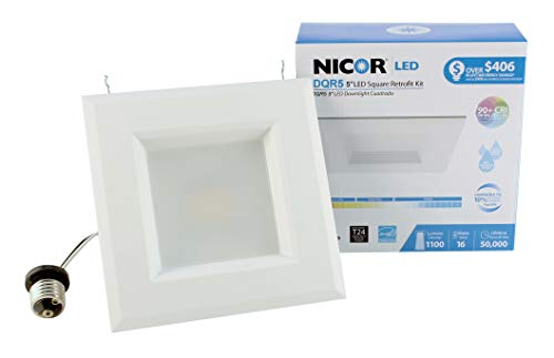 NICOR Lighting 5 inch White Square LED Recessed Downlight in 3000K (DQR5-10-120-3K-WH-BF)