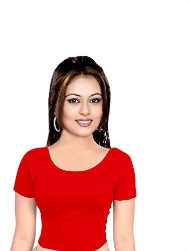 crazy bachat Indian etnisk design stretchable cotton lycra bluses beige toppar redymade saree bluses, röd, En Storlek