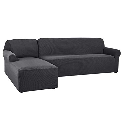 CHUN YI Sofa Überwürfe Sofabezug L Form Elastisch Jacquard Sofahusse für Ecksofa stretchbezug Couch mit 2 Stücke Abdeckhaube Sofaschoner (Links 2-Sitzer, Grau)