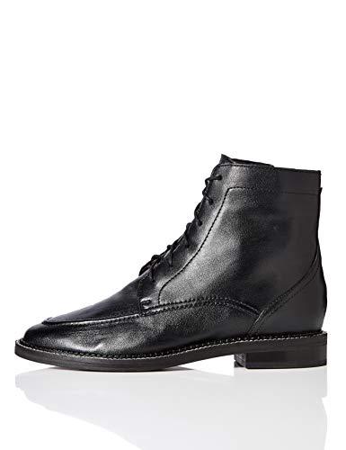 Marca Amazon - find. Zip Front Leather Botines, Negro Black, 40 EU