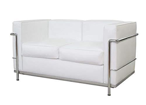 Sofá de 2 plazas de acero inoxidable, piel italiana negra, marrón, blanco y coñac