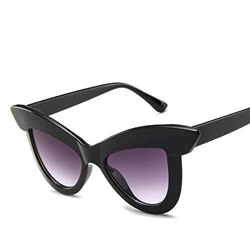 YOULIER Gafas de sol de mujer ojo de gato gafas de sol retro mujeres gafas de sol negro Uv400 BlackDoublegray