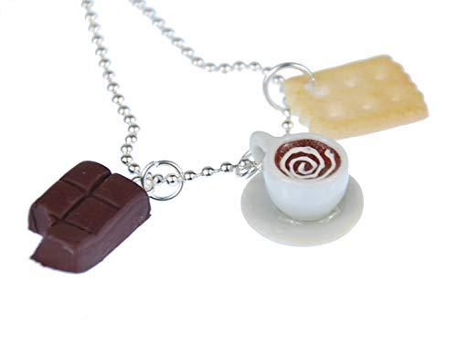 Miniblings 3er Set Kaffeekränzchen Kette Halskette 80cm Tasse Keks Schokolade - Handmade Modeschmuck - Gliederkette versilbert