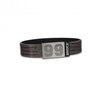 BRAYCE Pulsera de Cuero auténtico (Lizzard Grey) con tu número del 00 al 99: una Joya para Aficionados y Clubs (fútbol, Balonmano, Baloncesto, Hockey sobre Hielo)