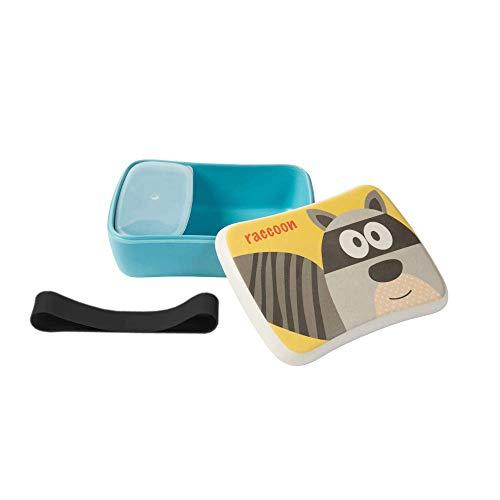 BIOZOYG Kinder Bento Lunchbox aus Bambus I Brotdose mit extra Snack Box I Mädchen und Junge Motiv Brotbox - Waschbär für Kindergarten I Lunch Set to Go BPA frei und 100{99533697aa0245ef20d9b5194b3fcd0034c6d4c259563fd592db67b3839aa57a} lebensmittelecht