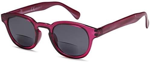 NEWVISIONOcchiali Bifocali Premontati con Lenti Scuro,100% di Protezione dai Raggi UV,Occhiali da Sole Bifocali per Donne e Uomo,Cerniera a Molla.NV1119(+1.00, rosso)