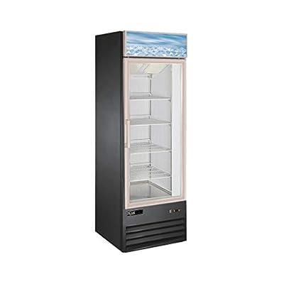 PEAK COLD Single Door Retail Merchandiser Display Freezer with Triple Paned Glass Door; 13 Cubic Ft.